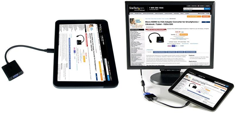 تبدیل میکرو اچ دی ام آی به وی جی ای با صدا-Micro HDMI to VGA+Audio