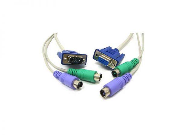 کابل kvm ps2 | کابل کی وی ام سوئیچ | کابل کی وی ام ps2 | اتصال 2 مانیتور به کامپیوتر | قیمت کابل مبدل KVM ps2 | فروشگاه اینترنتی ای خرید
