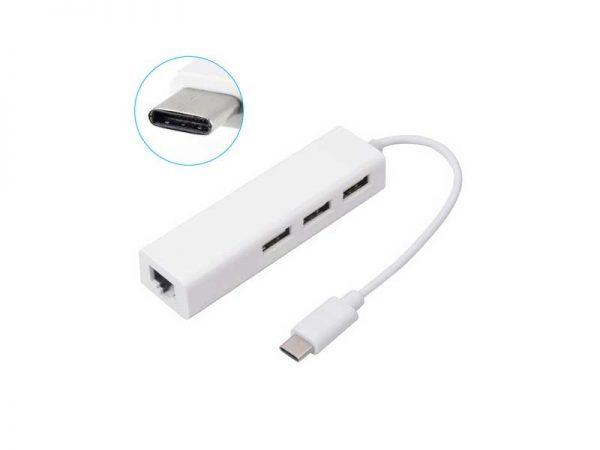 هاب usb type c | هاب تایپ سی USB2.0 | هاب USB با لن type c | هاب لن با تایپ سی | هاب 3 پورت type c | فروشگاه اینترنتی ای خرید