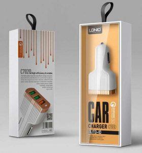 شارژر فندکی LDNIO مدل C702Q | شارژر فندکی C702Q | شارژر خودرویی موبایل LDNIO |