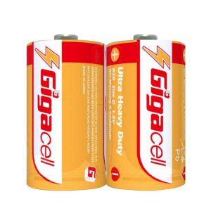 باتری بزرگ گیگاسل D | باتری بزرگتر از قلمی گیگاسل | باتری Gigacell R20-2S | باتری بزرگ چراغ قوه گیگاسل | باتری بزرگ Heavy Duty گیگاسل | ای خرید